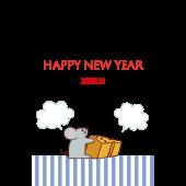年賀状 2020年! かわいい & おしゃれ ねずみ年 無料 イラスト(縦)