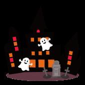 ハロウィン♪かわいい お化け屋敷&オバケ(ゴースト)のイラスト