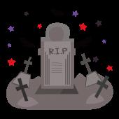 ハロウィン!かっこいい!?外国風のお墓とコウモリの 無料 イラスト