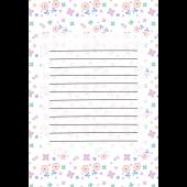 花柄のかわいい便箋(パステルホワイト)のテンプレート イラスト