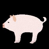 おしゃれ! かわいい♪水玉柄の ブタ(豚・ぶた)の 無料 イラスト