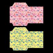 ポチ袋(お年玉袋)のテンプレート 花柄・ピンク・緑 イラスト
