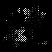 桜(さくら)の 白黒  (黒ベース)水玉 イラスト