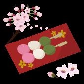 器にのった三色団子と桜♪のイラスト