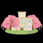 卒業式 の 無料イラスト♪桜満開の学校