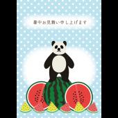 【暑中見舞い・縦】パンダとスイカのグリーティング 無料 イラスト