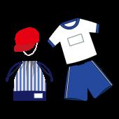 かわいい!体育服(体育着)セット(青色) 無料 イラスト