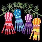 かわいい七夕祭り(たなばたまつり)の飾り(七夕飾り)のイラスト