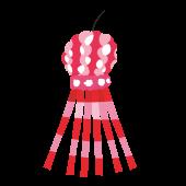 赤色のかわいい七夕飾りのイラスト