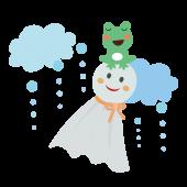 カエル(蛙)とてるてる坊主のイラスト【梅雨】