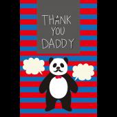 パンダ パパ の 父の日 の グリーティング カード 無料 おしゃれ イラスト【縦】