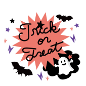 ハロウィン おしゃれな フリー イラストデザイン♪おばけのロゴ文字