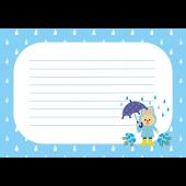 梅雨♪うさぎと傘の 便箋 フレーム(青) かわいい フリー イラスト