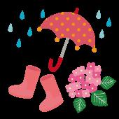 雨と傘と、長靴(レインブーツ)と紫陽花のイラスト・赤【梅雨】