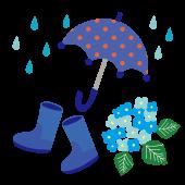 雨と傘と、長靴(レインブーツ)と紫陽花のイラスト・青【梅雨】