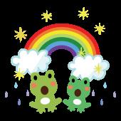 梅雨の日の晴れ間にビックリ!虹とカエル(蛙)のイラスト【梅雨】