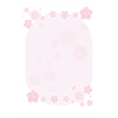 パステルカラーの梅の便箋(レターセット)のイラスト