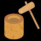 餅つき!臼と杵(うす と きね)の無料 イラスト!