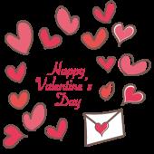 ハートがいっぱいのラブレター!Happy Valentine's Dayのイラスト