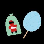 お祭り♪ かわいい♪戦隊モノの  綿あめ の 無料 イラスト
