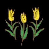黄色のチューリップの かわいい 無料 イラスト